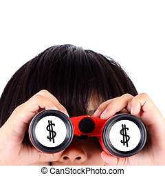 Girl looking US dollar sign with binoculars