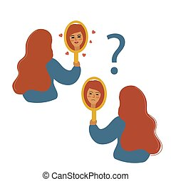 Girl looks in the mirror, modern flat vector illustration. Love yourself, body positive concept. Woman will look at herself.