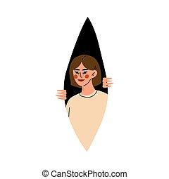 Girl looks out of the dark cartoon vector illustration