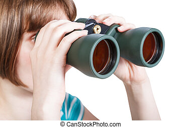 girl looks through field glasses isolated on white