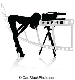 girl looks through the camera vector illustration
