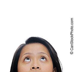 Girl looks up