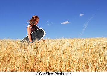 Girl lost in Wheat Field