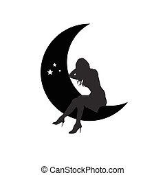 girl, lune, silhouette, illustration, séance