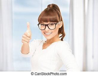 girl, lunettes, haut, pouces