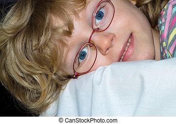 girl, lunettes
