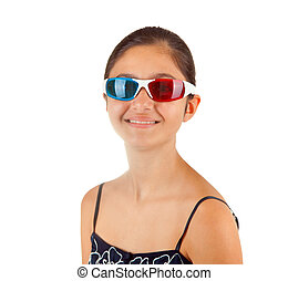 girl, lunettes, jeune, tridimensionnel