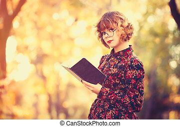 girl, lunettes, livre, roux