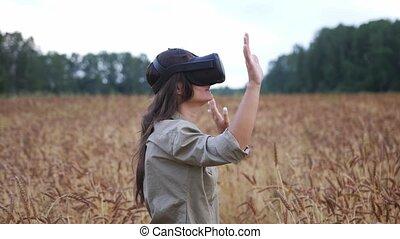 girl, lunettes, réalité, usages, doré, virtuel, champ, blé, ...