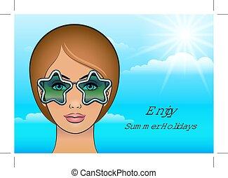 girl, lunettes soleil, étoiles