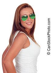 girl, lunettes soleil, désinvolte