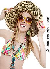 girl, lunettes soleil, heureux