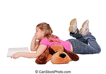 girl lying down reading