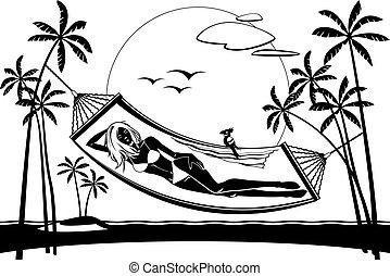 Girl lying on a hammock on the beach