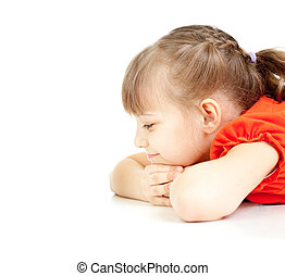 Girl lying on floor looking ahead isolated on white with empty space for any object