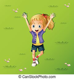 Girl lying on grass with two hands up