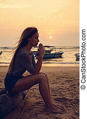 girl, méditer, océan