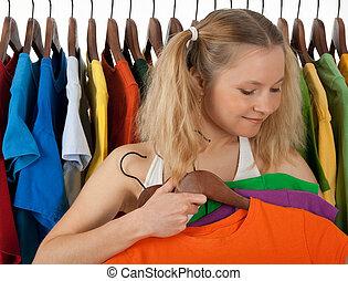 girl, magasin, choisir, vêtements