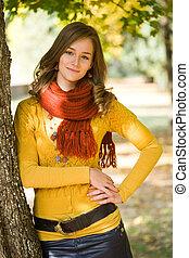 girl., magnífico, moda, otoño