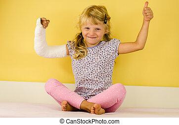 girl, main, bandage, oui, caucasien, geste