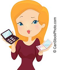 Girl Make Up Palette Choice - Illustration of a Girl...