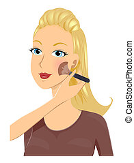 Girl Make Up - Using Blush Brush with Clipping Path