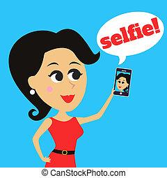 Girl makes selfie