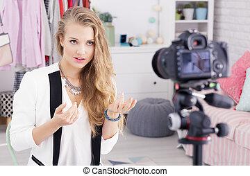 Girl making a videoblog