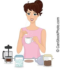 Illustration of a Girl Preparing Brewed Coffee