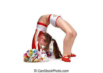 cheerleading girl with pompoms making bridge