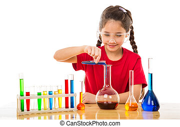 Girl making chemical experiments, isolated on white
