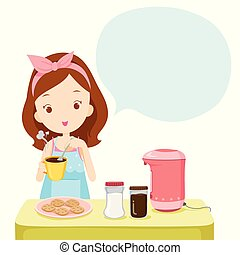 Girl Making Coffee With Talk Bubble