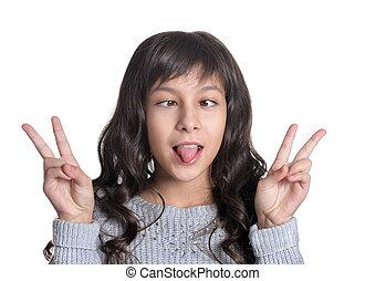 girl making facial expresions