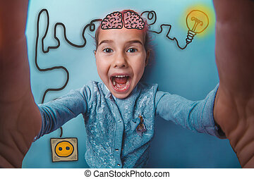 girl making self laughs opened her mouth happy igniter charge charging cord plug wires and sketch infographics