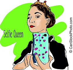 Girl making selfie with smartphone. Doodle vector illustration