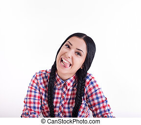 Girl making silly faces