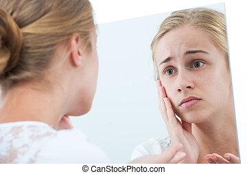 girl, malheureux, miroir