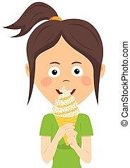 girl, manger, adolescent, glace