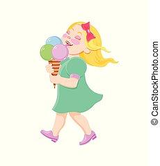 girl, manger, dessin animé, glace