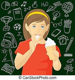 girl, manger, glace