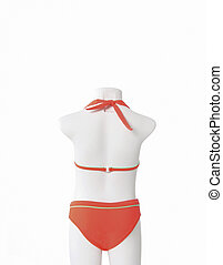 Girl mannequin with bikini rear view