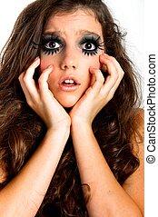 girl, maquillage, jeune, extrême, terrifié