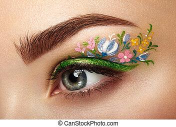girl, maquillage, oeil, fleurs