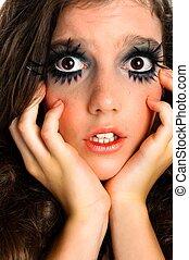 girl, maquillage, terrifié, extrême