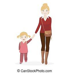 girl, marche, école, elle, mère