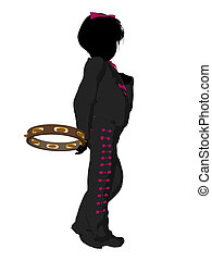 Girl Mariachi Silhouette Illustration - Girl mariachi with a...