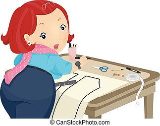 Girl Marking Cloth