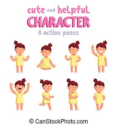 Girl Vector Mascot In 8 Action Poses Cartoon Yoga