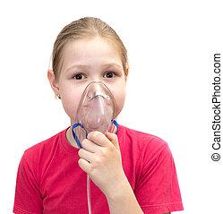 girl, masque, inhalations
