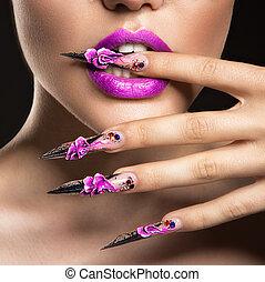 girl, masque, sensuelles, beauté, face., lips., longs ongles, beau